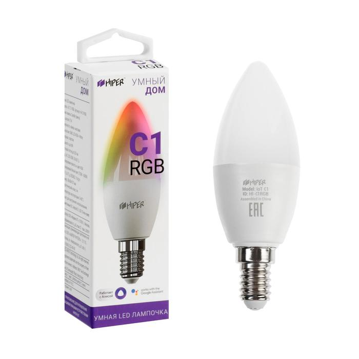Умная LED лампа HIPER, Wi-Fi, Е14, 6 Вт, 520 Лм, RGB