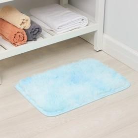 Коврик Доляна «Пушистик», 40×60 см, цвет сине-голубой