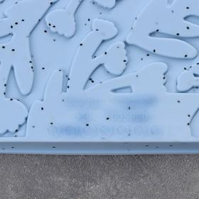 Коврик для приготовления пищи «Веточки», 38×30×2 см, цвет голубой