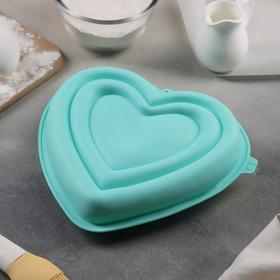 Форма для муссовых десертов и выпечки Доляна «Сердце», 22×20×7 см, цвет МИКС