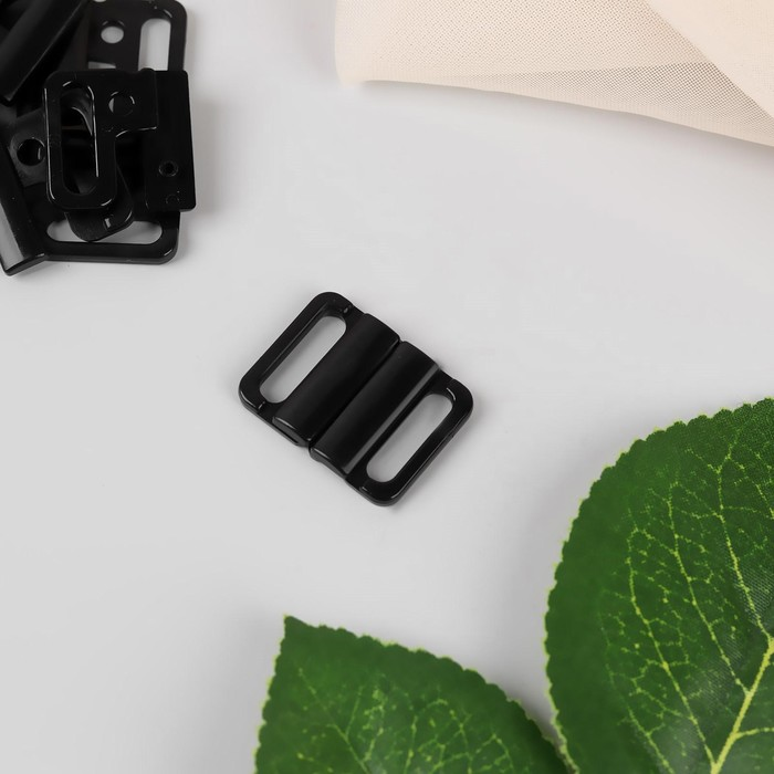 Застёжка для бюстгальтера, пластиковая, 14 мм, 10 шт, цвет чёрный
