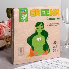 Салфетки бумажные Greena 2 слоя 20 листов, 33х33
