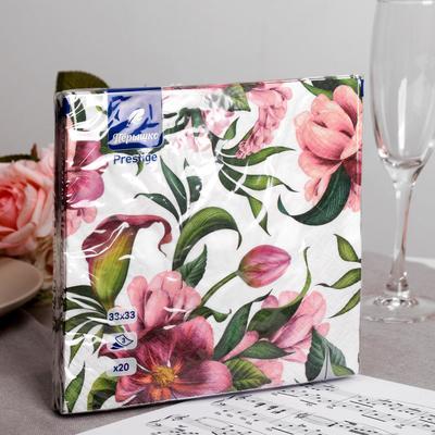 Салфетки бумажные Перышко Prestige пурпур, 3 слоя 20 листов 33х33 - Фото 1