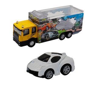 Набор грузовик + машинка die-cast, белая, спусковой механизм