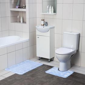 Набор ковриков для ванны и туалета SHAHINTEX «Актив», 2 шт: 50×80, 50×40 см, цвет голубой
