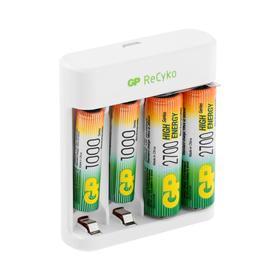 Зарядное устройство GP U411 + 4 аккумулятора AA/AAA 2700/1000 мАч, белое Ош