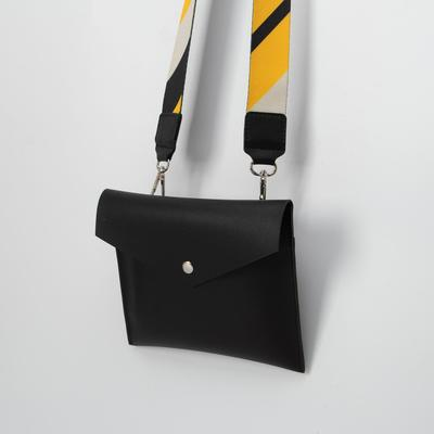 Сумка женская, отдел на клапане, длинный ремень, цвет чёрный - Фото 1