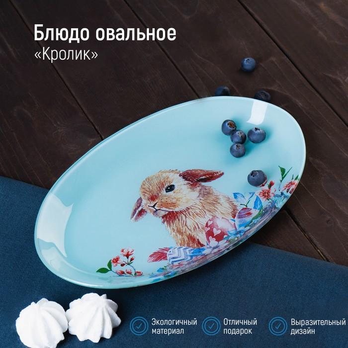 Блюдо овальное Доляна «Кролик», 24,5×15×2 см