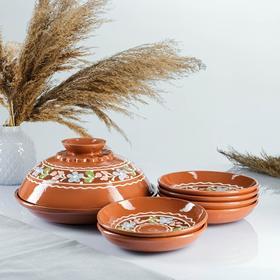 Набор для блинов 7 предметов: 1 шт. блинница, 6 шт. тарелок, с росписью, венок