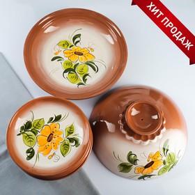Набор для блинов 7 предметов: 1 шт. блинница, 6 шт. тарелок, с росписью, нектар
