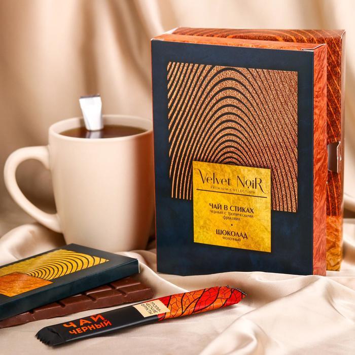 Подарочный набор Premium collection: шоколад молочный 85 г., чай чёрный с тропическими фруктами 2 г. Х 10 шт.