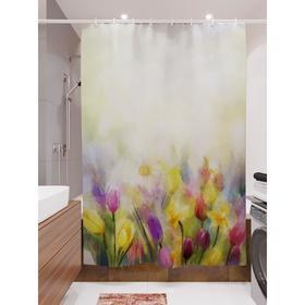 Штора для ванной «Акварельные тюльпаны», размер 180х200 см