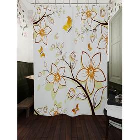 Штора для ванной «Бабочки и белые цветы», размер 180х200 см