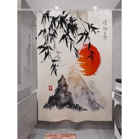 Штора для ванной «Бамбук на закате», размер 180х200 см