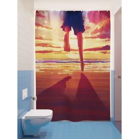 Штора для ванной «Бегом к морю», размер 180х200 см