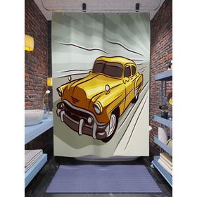 Штора для ванной «Винтажное авто», размер 180х200 см