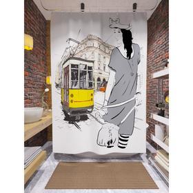 Штора для ванной «Желтый трамвай и девушка», размер 180х200 см