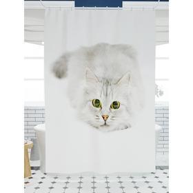 Штора для ванной «Играющий кот», размер 180х200 см