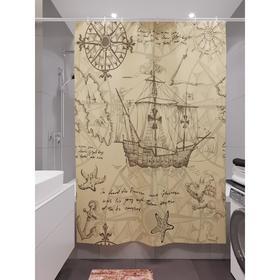 Штора для ванной «Навстречу путешествиям 2», размер 180х200 см