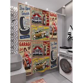 Штора для ванной «Пинап постеры», размер 180х200 см