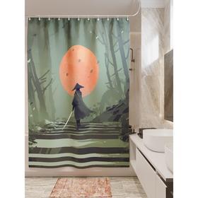 Штора для ванной «Самурай в ночи», размер 180х200 см