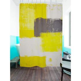 Штора для ванной «Серо-желтая абстракция», размер 180х200 см