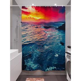 Штора для ванной «Яркий закат», размер 180х200 см