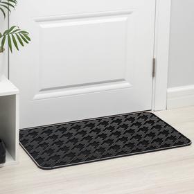 Коврик придверный прямоугольный Доляна «Гусиные лапки», 45×75 см, цвет чёрный
