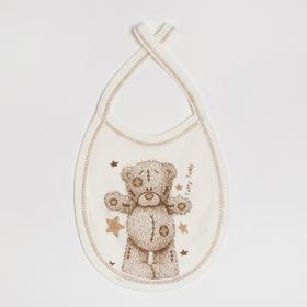 Слюнявчик «Мишка», цвет молочный