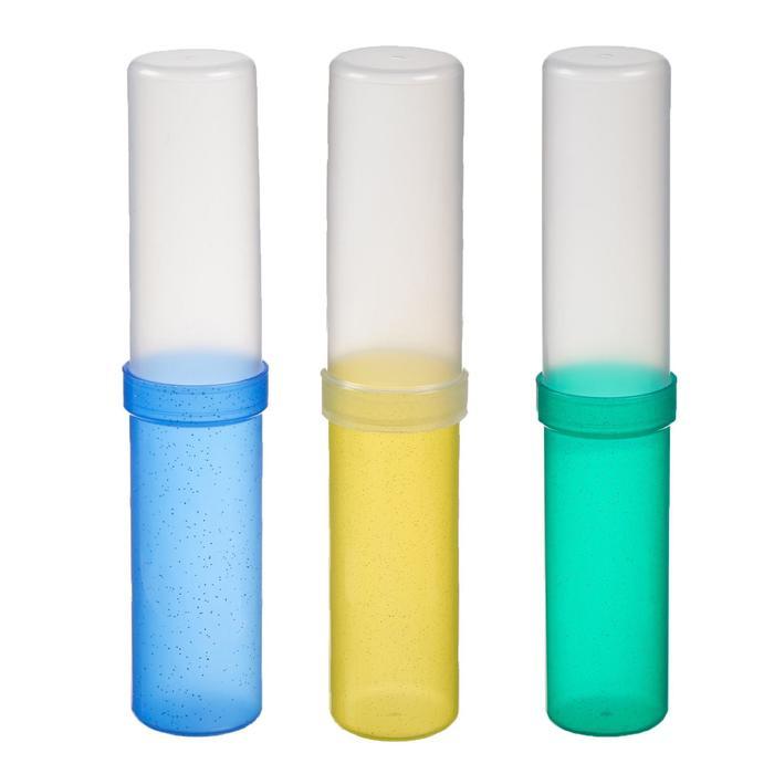 Пенал пластиковый тубус 215*45*45 с блетками, 3вид МИКС ПМ-2065