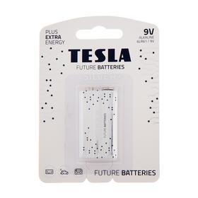 Батарейка алкалиновая Tesla Blue, 6LR61-1B, 9В, крона, блистер, 1 шт.