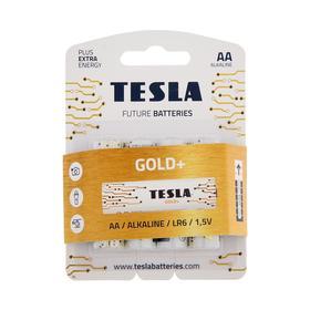 Батарейка алкалиновая Tesla Gold, AA, LR6-4BL, 1.5В, блистер, 4 шт.