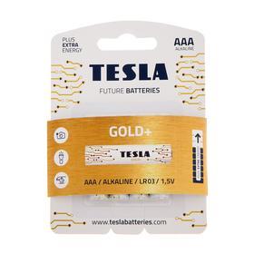 Батарейка алкалиновая Tesla Gold, AAA, LR03-4BL, 1.5В, блистер, 4 шт.