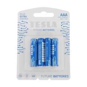 Батарейка солевая Tesla Blue, AAA, R03-4B, 1.5В, блистер, 4 шт.
