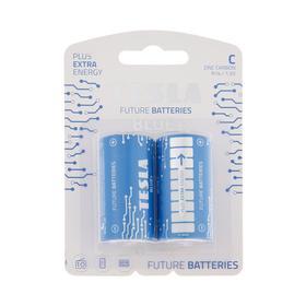 Батарейка солевая Tesla Blue, C, R14-2B, 1.5В, блистер, 2 шт.