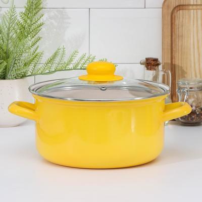 Кастрюля Эстет «Ярко-желтая», 3 л, цилиндр