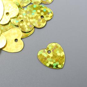 """Пайетки """"Сердечки"""" 1 см, 10 гр, золото"""