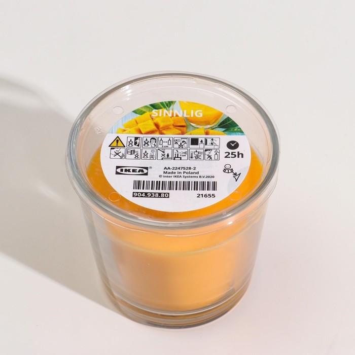 Ароматическая свеча в стакане СИНЛИГ, манго, 7.5 см, 25 ч, желтый