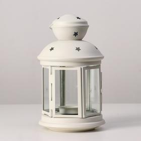 """Подсвечник """"Фонарь"""" для чайной свечи РОТЕРА, 21 см, белый"""
