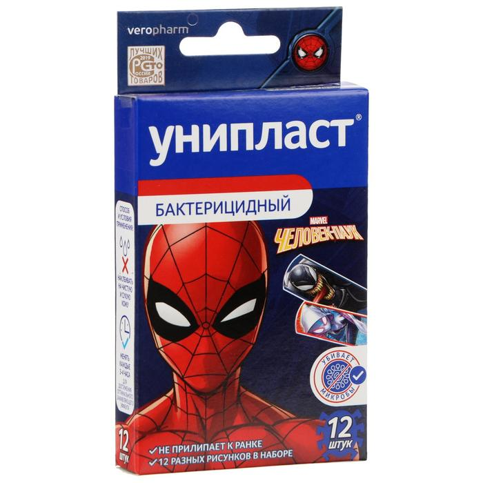 Лейкопластырь бактерицидный Унипласт Детский Человек-паук 12 шт