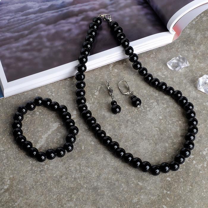 Набор 3 предмета серьги, бусы, браслет, шар 10 Агат чёрный