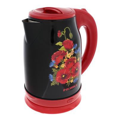 """Чайник электрический """"Росинка"""" РОС-1013, металл, 1.8 л, 2200 Вт, рисунок """"маки"""" - Фото 1"""