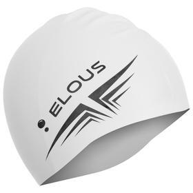Шапочка для плавания Elous, однотонная EL005, силиконовая, цвет белый Ош