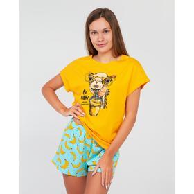 Пижама женская (футболка, шорты) цвет жёлтый/бананы с горохом, размер 42