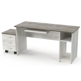 Набор офисной мебели, стол компьютерный, тумба, сосна белая / сосна пандероса Ош