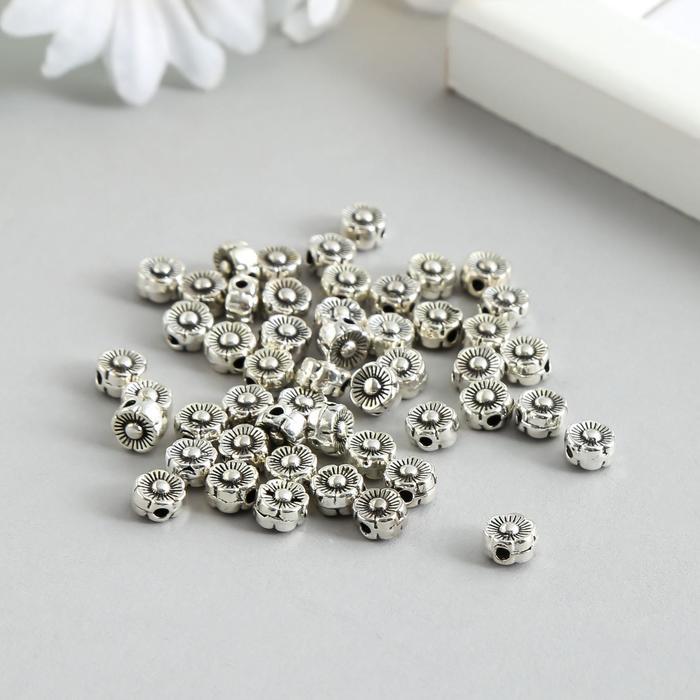 Бусина для творчества металл Микро цветочек серебро 0,5х0,5х0,3 см
