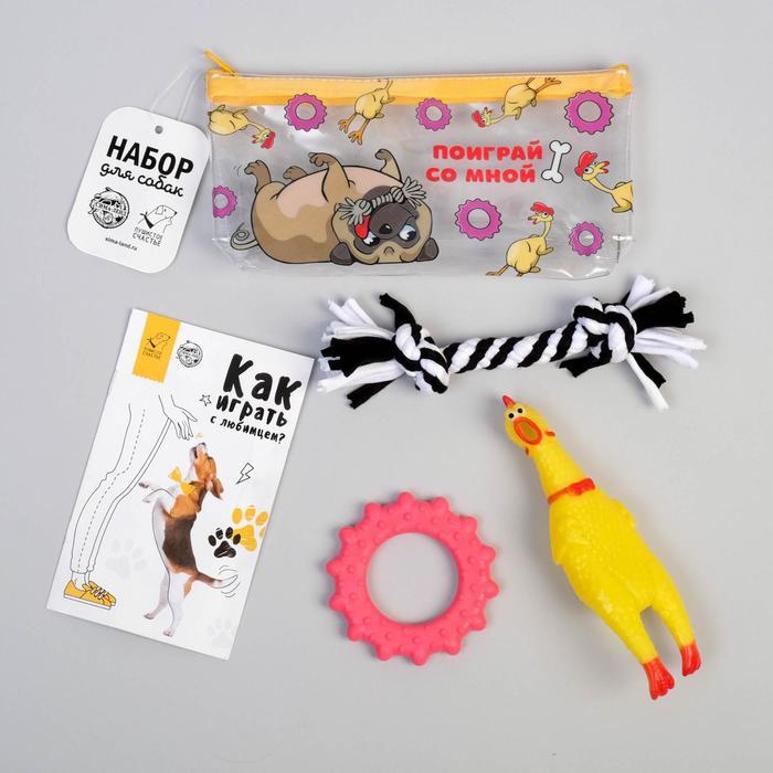 Игрушки для собаки «Поиграй со мной» курица, игрушка, канат