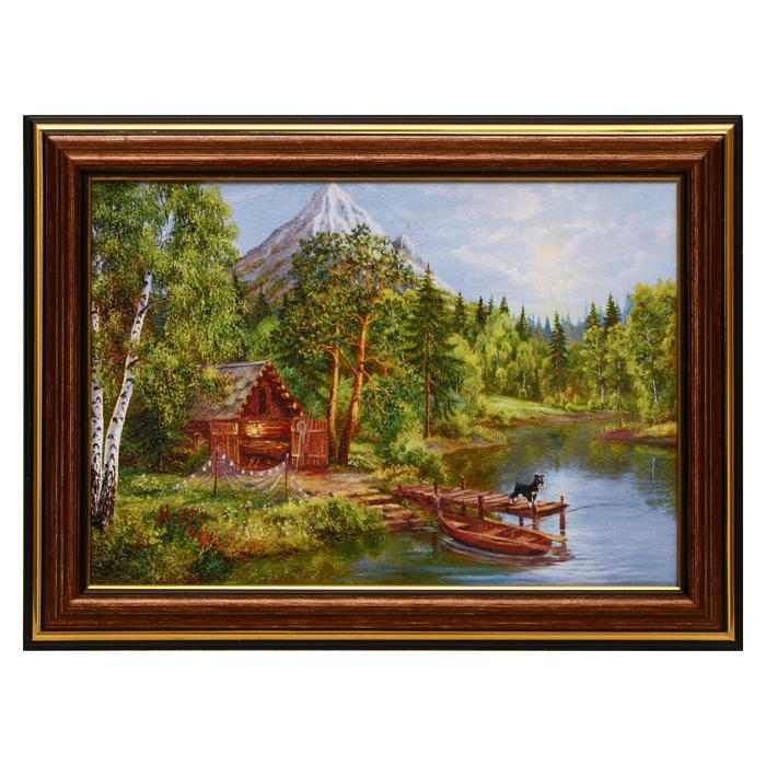 Картина Домик у горной реки 13х1816х21 см