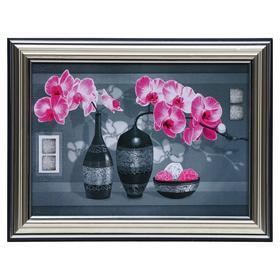Картина 'Розовые орхидеи на сером' 13х18(16х21) см Ош