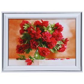 Картина 'Букет красных гвоздик' 13х18(16х21) см Ош